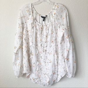 White House Black Market Floral Long Sleeve Top
